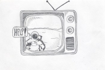 A drawing of an astronaut in a television yelling for help