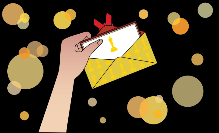 Graphic of person holding an open envelope