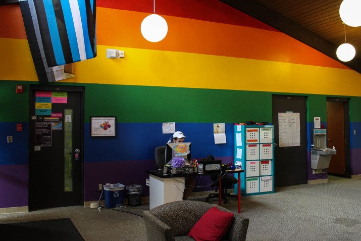 A room with rainbow walls