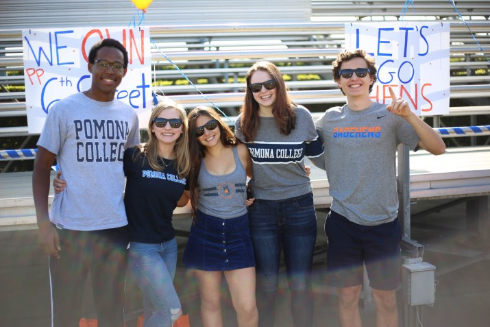 Five Pomona students smiling