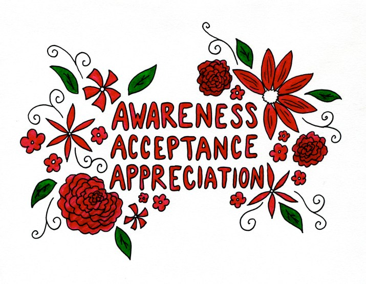 "Drawing that says ""Awareness // Acceptance // Appreciation"""
