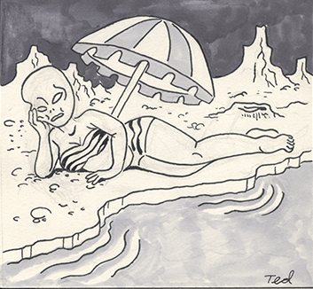 A drawing of an alien on a beach