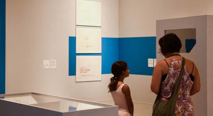 "Visitors in Chilean experimental artist Juan Downey's interactive ""Radiant Nature"" exhibit."