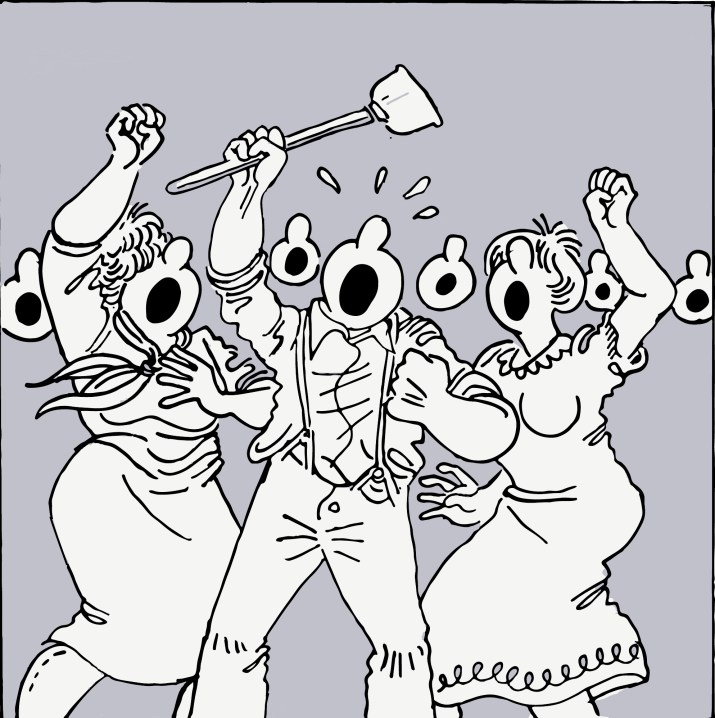 A cartoon drawing of three people with big noses screaming and oputting their hands up