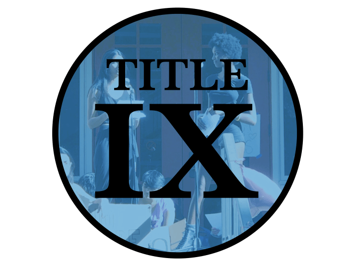 "A circle with the words ""Title IX"" in it"