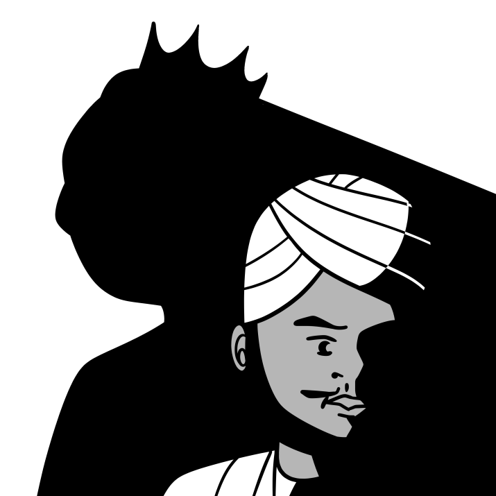 A graphic of a man in a turban and a shadow