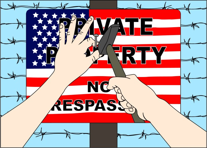"A graphic of a person nailing a sign onto a pole. The sign says ""Private property no trespassing"" with the U.S. flag as its background."