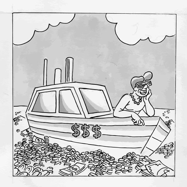 A black and white graphic of a person on a yacht. The sea is filled with money.