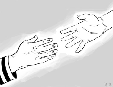Two cartoon hands reaching toward each other