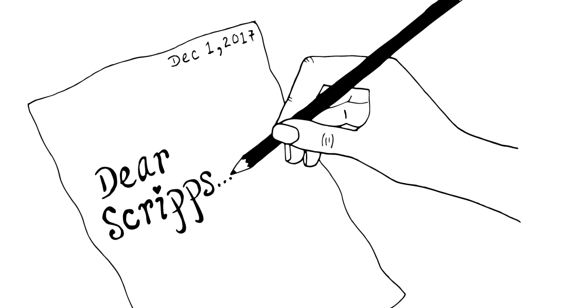 """A black and white graphic of a hand writing a letter. It reads, """"Dear Scripps..."""""""