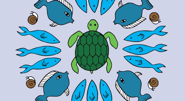 A graphic of several sea animals, including fish, sea snails and a turtle.