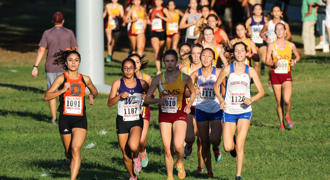 The leading pack of runners at the SCIAC Multi-Dual meet Sept. 29.