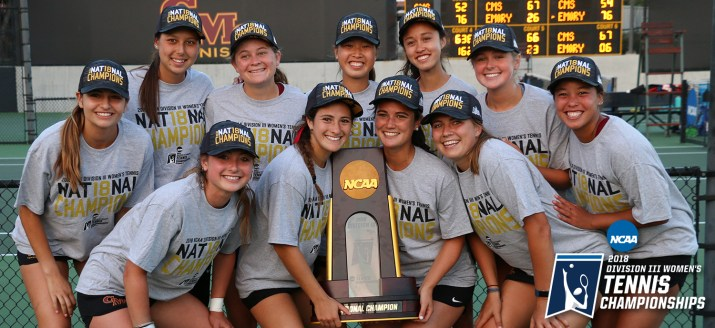 The Athena tennis team pose with their National Championship trophy.