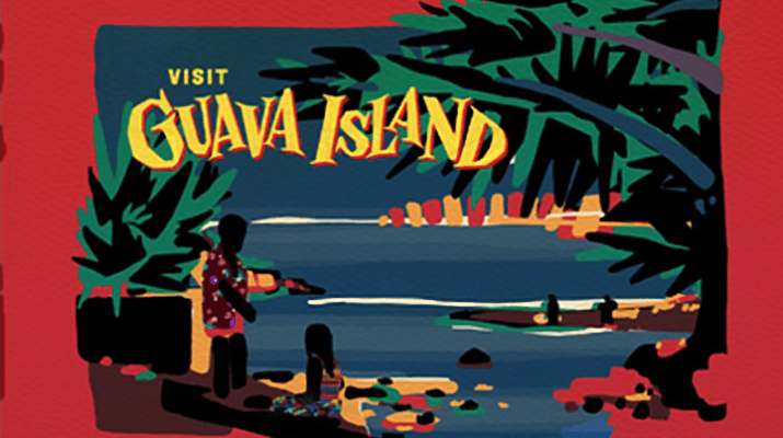 """Pictured is a graphic art image of a film poster. The border is red and in the middle is a scene of two people on the beach. There is a woman kneeling down at the waters edge and a man in a tropical Hawaiian style shirt standing next to her. The beach is surrounded by palm trees and other foliage. In the top left of the poster are the words """"Visit Guava Island"""" and in the bottom right are the words """"Explore Paradise."""""""