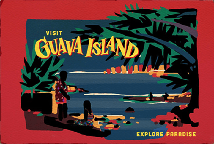 "Pictured is a graphic art image of a film poster. The border is red and in the middle is a scene of two people on the beach. There is a woman kneeling down at the waters edge and a man in a tropical Hawaiian style shirt standing next to her. The beach is surrounded by palm trees and other foliage. In the top left of the poster are the words ""Visit Guava Island"" and in the bottom right are the words ""Explore Paradise."""