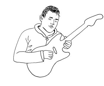 A black and white graphic of a man playing the guitar.