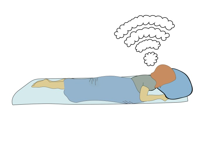A graphic depicting a person lying in bed, with a Wi-Fi signal drawn in the style of think clouds above the person.