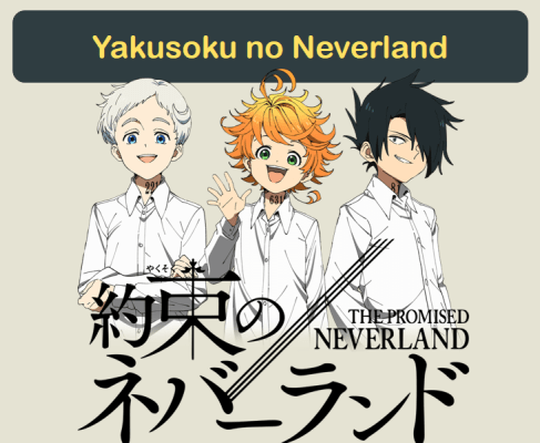 """An image showing the protagonists of """"The Promised Neverland,"""" from left to right: Norman wears a white shirt and has short silver hair, Emma wears a white shirt and has short orange hair, and Ray wears a white shirt and has short black hair."""
