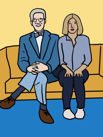 "A graphic of ""The Good Place"" characters Michael and Eleanor sitting side by side on a mustard yellow couch. Michael (left) wears glasses, a dark blue blazer, a bowtie, light blue pants and brown shoes. Eleanor wears a blue shirt, navy pants and white shoes."