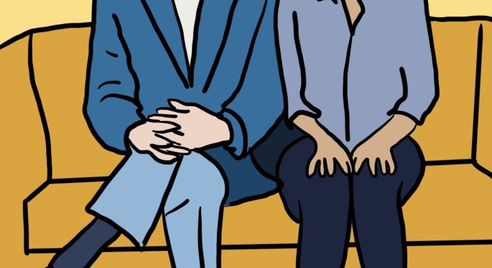 """A graphic of """"The Good Place"""" characters Michael and Eleanor sitting side by side. Michael (left) wears glasses, a dark blue blazer, a bowtie, light blue pants and brown shoes. Eleanor wears a blue shirt, navy pants and white shoes. They are both sitting on a mustard yellow couch."""