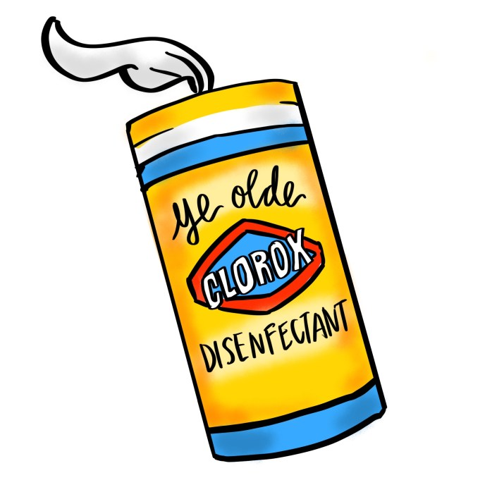 """A yellow clorox box with a wipe sticking out has the words """"ye olde disenfectant"""" on it"""