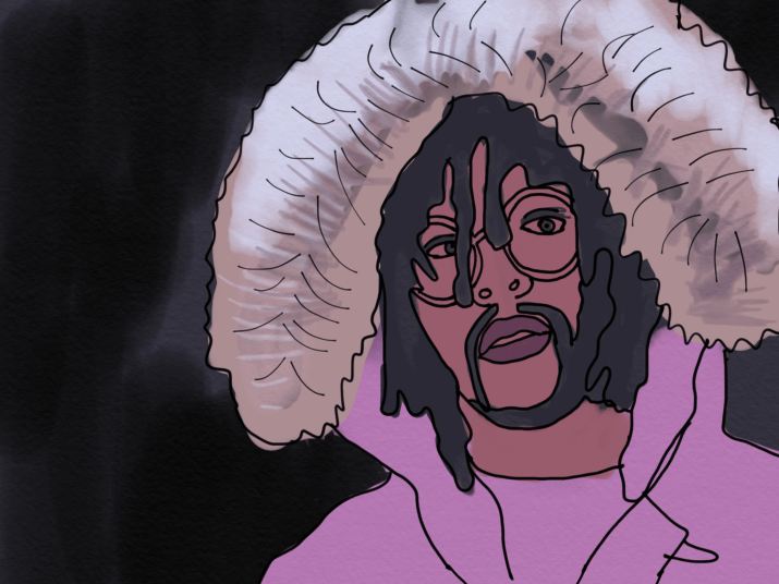 03 Greedo, the artist from the article, is wearing a pink fur lined jacket, glasses and dreadlocks