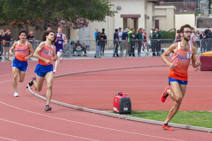 Three Sagehens run really fast, including editor-in-chief Kellen Browning.