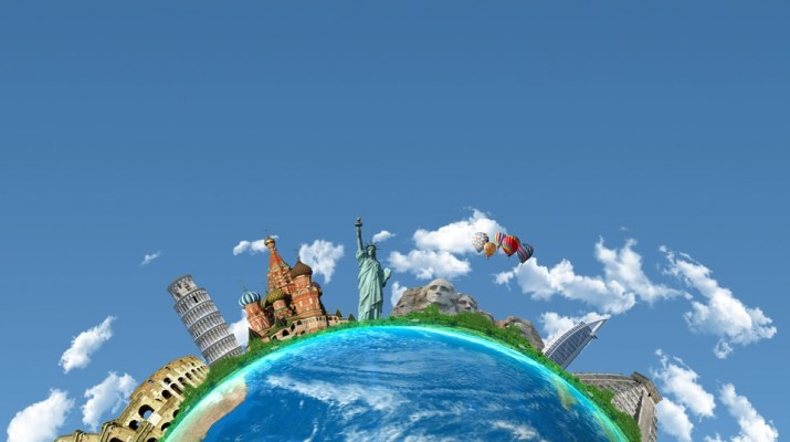 An image showing part of the Earth against a blue sky. Lining the edge of the Earth are a series of world landmarks, including the Leaning Tower of Pisa, the Statue of Liberty, Mount Rushmore and the Burj Al Arab.