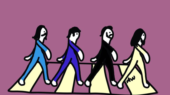 A comic portrayal of the cover of Abbey Road, with 4 people walking on a zebra-striped crosswalk.