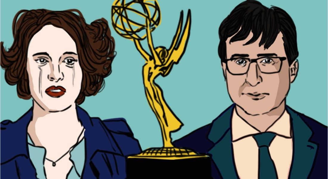 A golden Emmy Award statue stands between actress and writer Phoebe Waller-Bridge and talk-show host John Oliver