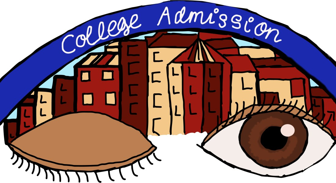 "One closed and one open eye float in front of red and beige college campus buildings. A blue banner with the words ""college admissions"" arcs above the buildings."