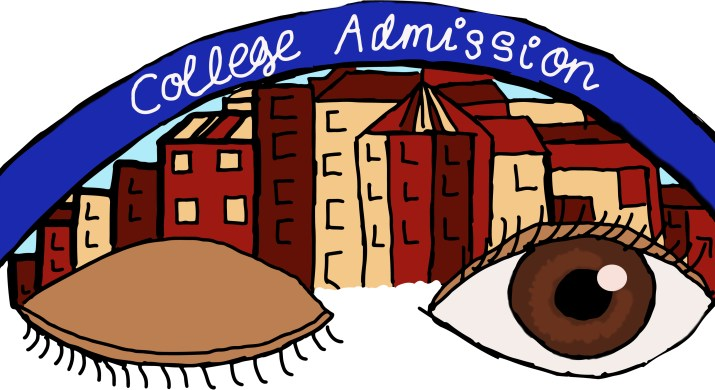 """One closed and one open eye float in front of red and beige college campus buildings. A blue banner with the words """"college admissions"""" arcs above the buildings."""