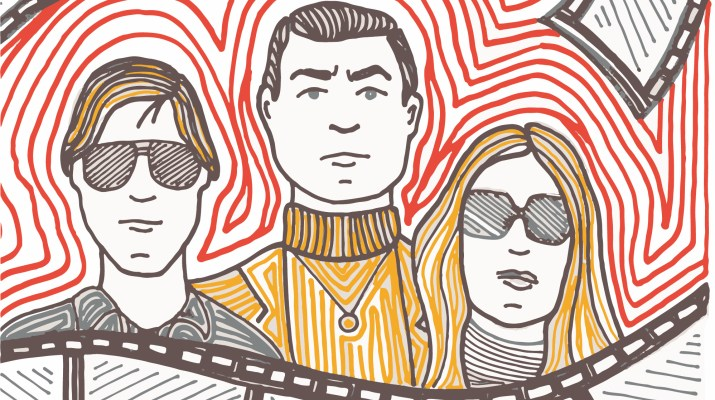 """Brad Pitt, Leonardo DiCaprio and Margot Robbie as depicted in """"Once Upon a Time in Hollywood"""" with film reel curled around them. The bakground is a red and white abstract spiral."""