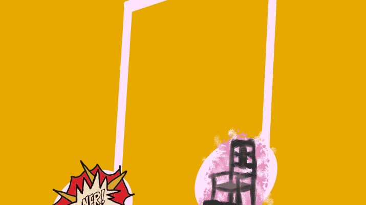 A pale pink eighth note on a mustard yellow background with sections of album covers imposed on top of the 2 notes
