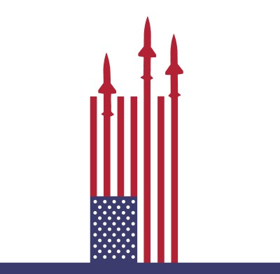 Sideways American flag with the silhouettes of missiles emerging from red stripes