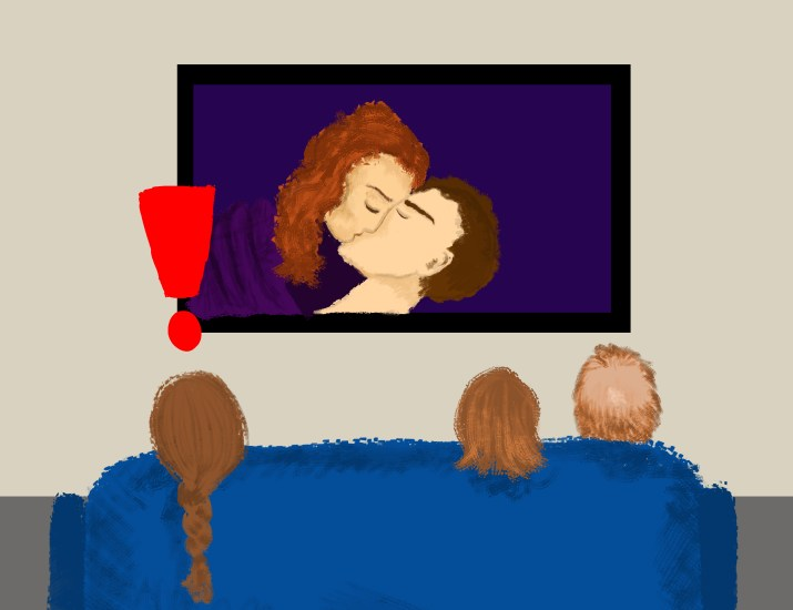 The back of the heads of two parents and their kid on a couch watching a sex scene on their TV. An enormous red exclamation point floats above the kid's head.