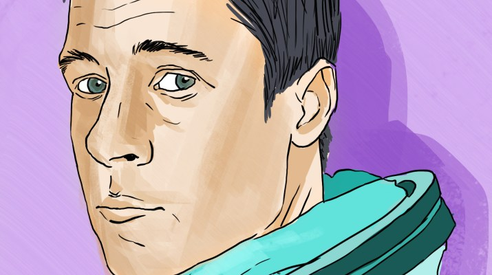 Brad Pitt's character in Ad Astra wears a teal spacesuit with a purple background behind him.