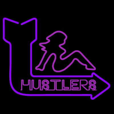 "A neon pink and purple sign depicting a woman sitting above the word ""hustlers."""