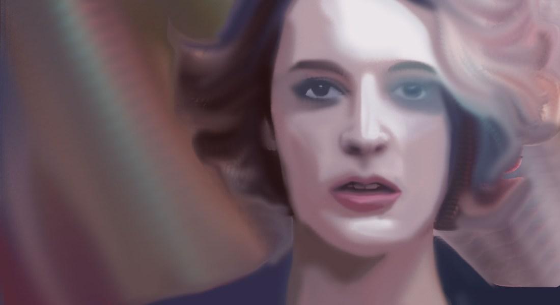 "A blurred depiction of Phoebe Waller-Bridge in the show ""Fleabag"""