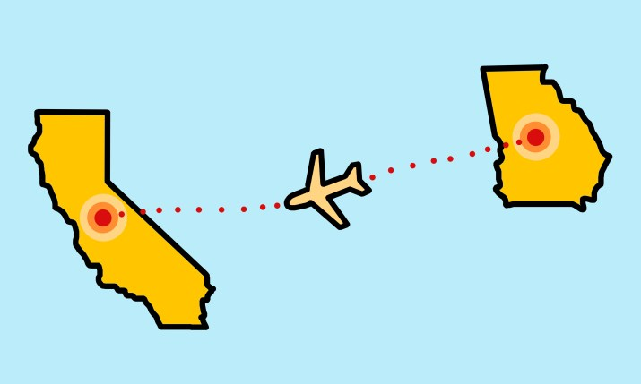 The states of California and Georgia with a plane flying between them, flying from Georgia to California.