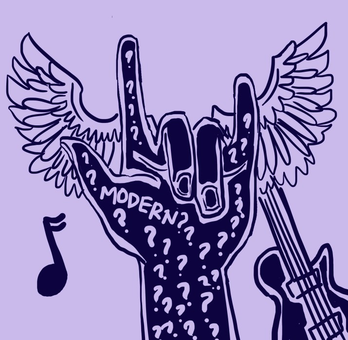 "A stylized hand drawn in navy blue holds up the ""rock on"" sign, with the two middle fingers folded down and the other three fingers stretched up. The hand is patterned with lavender question marks and the word ""modern?"" Feathered wings extend out behind the hand, and a music note and an electric guitar float behind the hand as well."