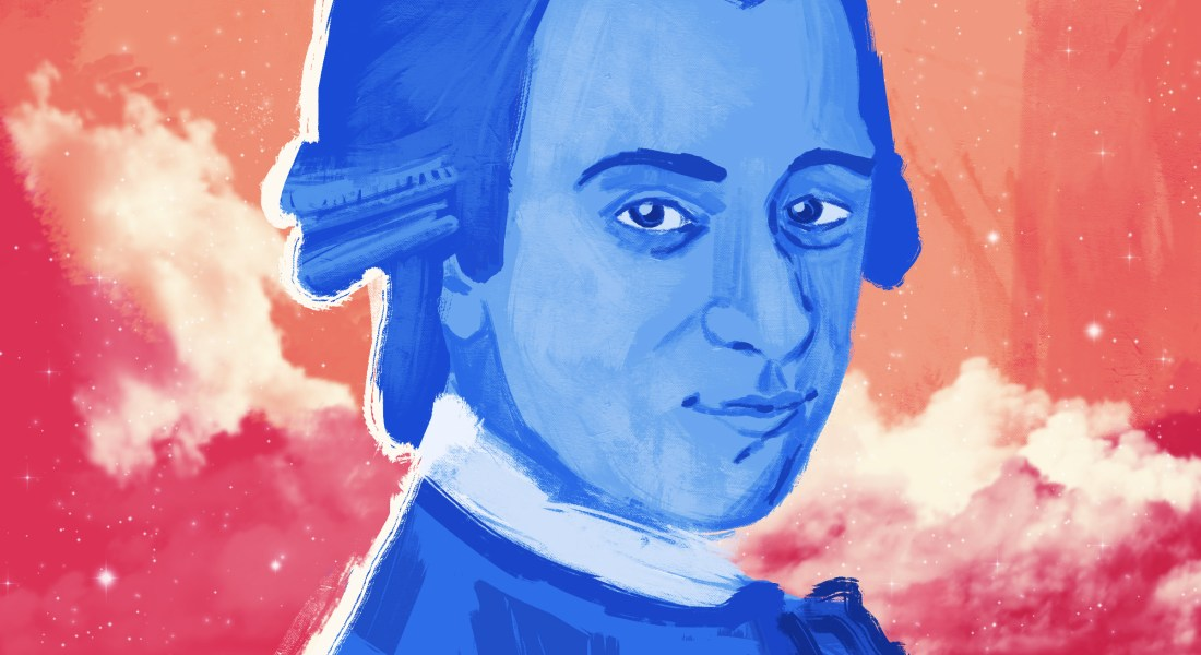 """A portrait of Mozart painted in blue with an orange galaxy background, styled after Chance The Rapper's """"Coloring Book"""" album cover"""