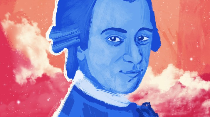 "A portrait of Mozart painted in blue with an orange galaxy background, styled after Chance The Rapper's ""Coloring Book"" album cover"