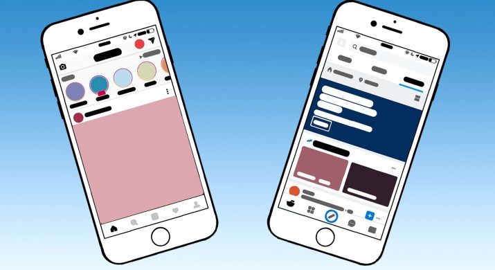 Two phones, one showing the Instagram interface and one showing the reddit interface. The phones sit in front of a blue-to-white gradient.