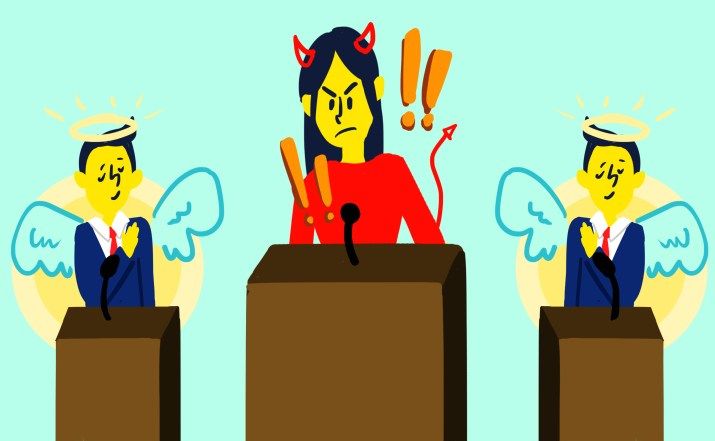3 debate candidates stand behind a podium, with 2 men on the side and a woman in the center. The men have haloes and angel wings, while the woman has devil horns and exclamation points floating above her.