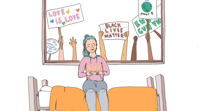 A girl sits on her bed and stares at her phone, smiling, while protesters hold up slogan-filled signs behind her, glimpsed through her window.