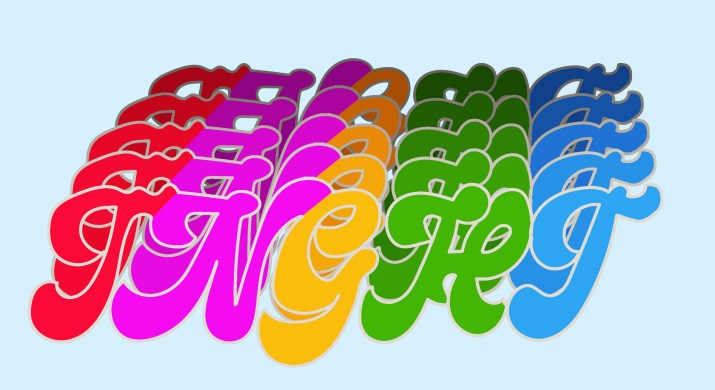 """The multicolored lettering """"TNGHT"""" repeated five times with a background of pale blue."""