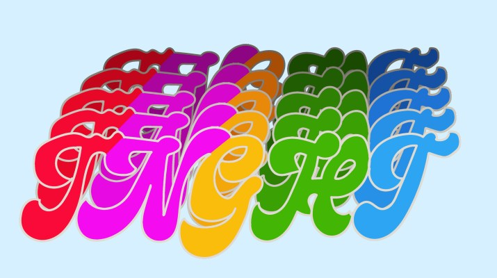 "The multicolored lettering ""TNGHT"" repeated five times with a background of pale blue."