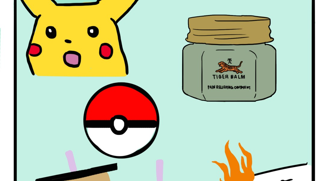 "A green box enclosing the surprised Pikachu meme, a bottle of tiger balm, a Poké ball, tea with boba, and an on-fire assignment that has an ""A-"" on it in red writing. Above the box, the words ""Subtle Asian Traits"" are written."
