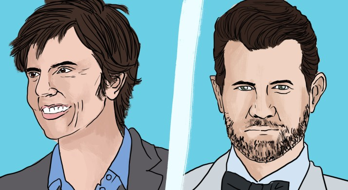 Comedians Tig Notaro and Billy Eichner in front of a blue background.